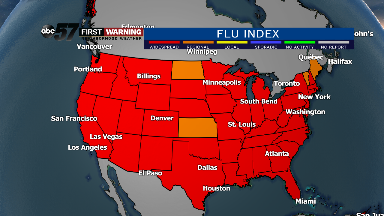 Current Flu Map Us US flu season now on pace to surpass 2017 18, which was the worst