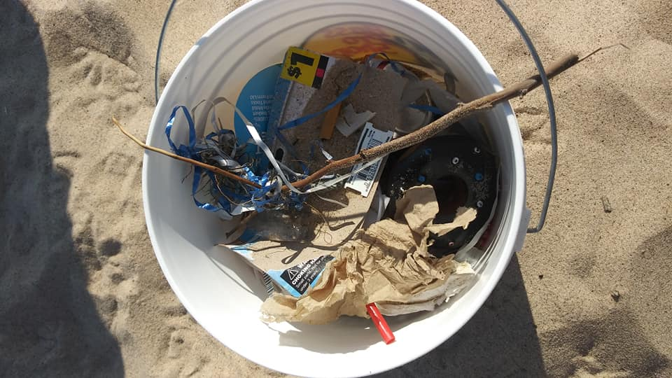 Bucket full of litter during a weekly clean by Monday Mornings! Facebook