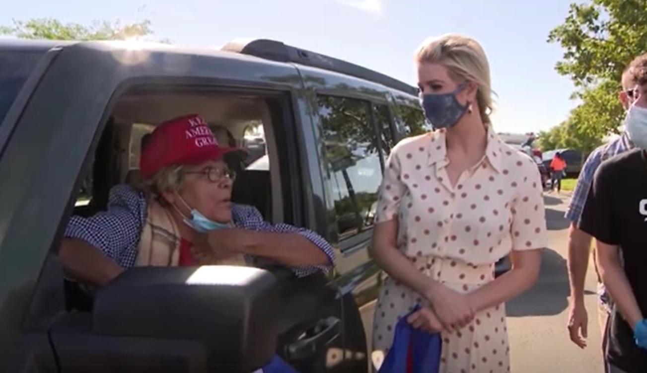 Ivanka Trump helps load food into cars of drivers in need  Ivanka Trump Car