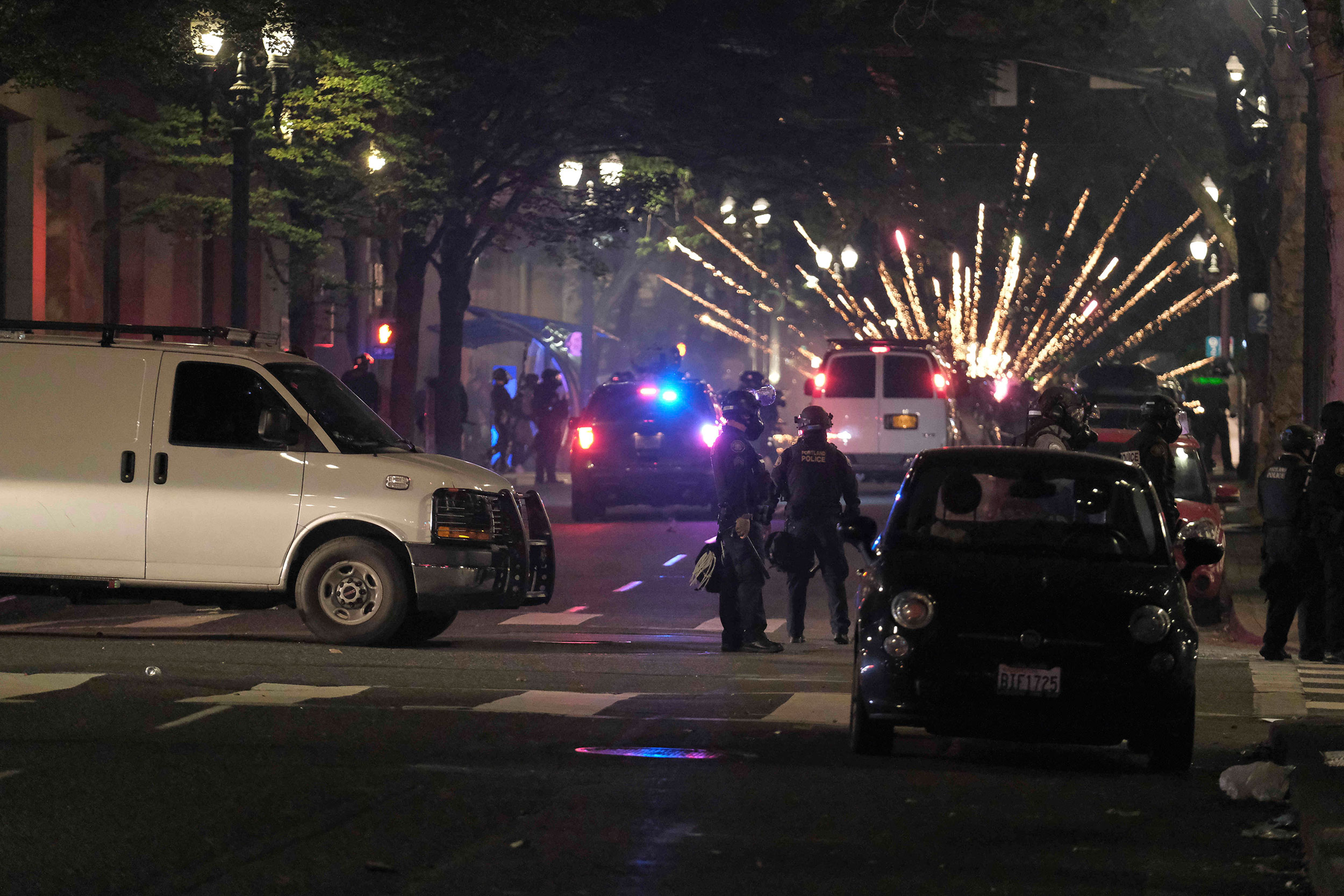 Fireworks and Projectiles Thrown at Police During Protests
