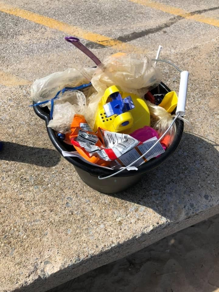 Bucket full of litter after a successful cleaning by Monday Mornings! Facebook
